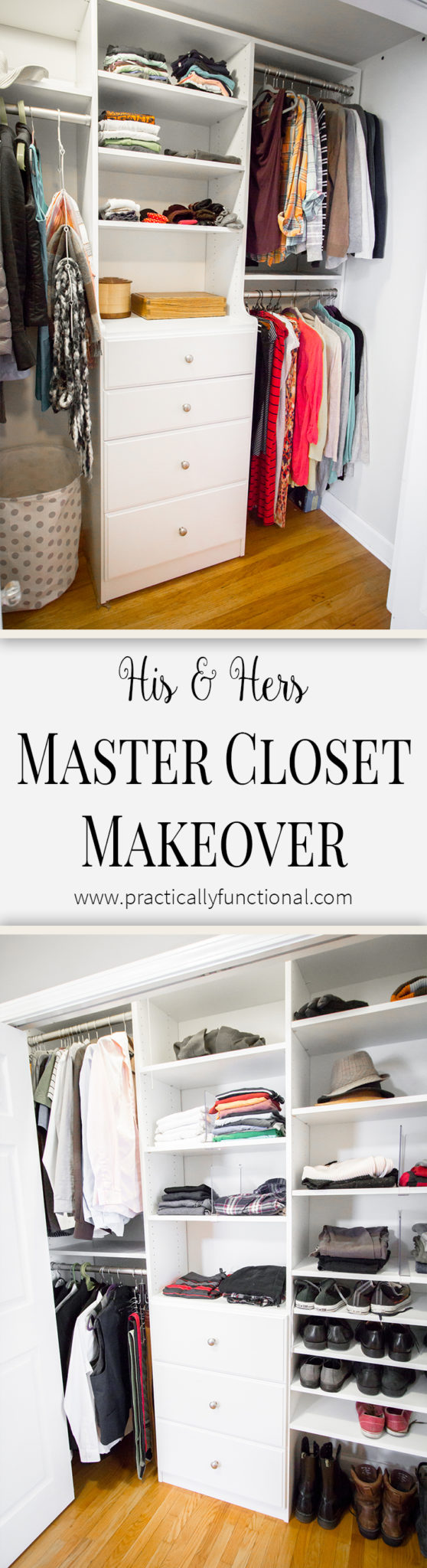 Give your master closet a DIY custom makeover in just one weekend! Easy to design, easy to install!