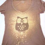 DIY bleach spray shirt with an adhesive owl stencil