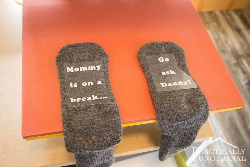 "DIY mommy is on a break socks so your kids know you're taking some ""me time"""