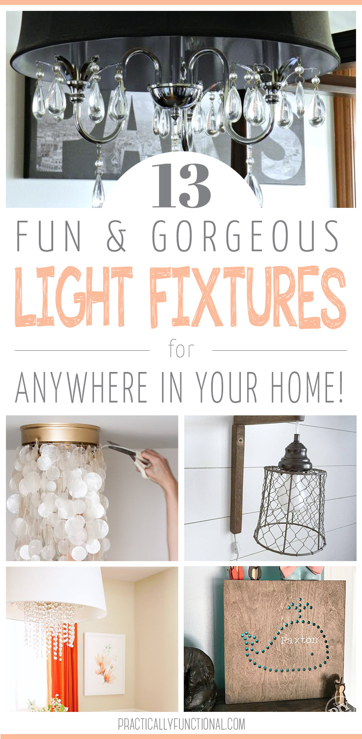 13 awesome light fixture ideas for every room in your house, and even outdoors; if you're looking to spruce up your lights this year, check these out!