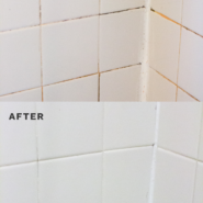 before and after collage of white tile with dirty grout and white tile with clean grout