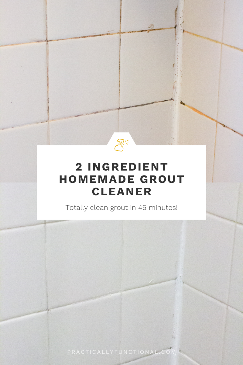 """before and after collage of white tile with dirty grout and white tile with clean grout and text """"2 Ingredient Homemade Grout Cleaner"""""""