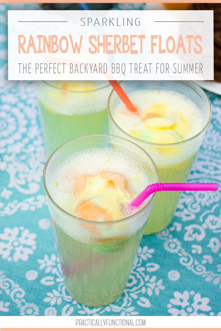 sparkling rainbow sherbet floats with 7UP