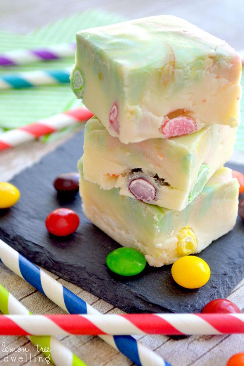 Skittles rainbow fudge