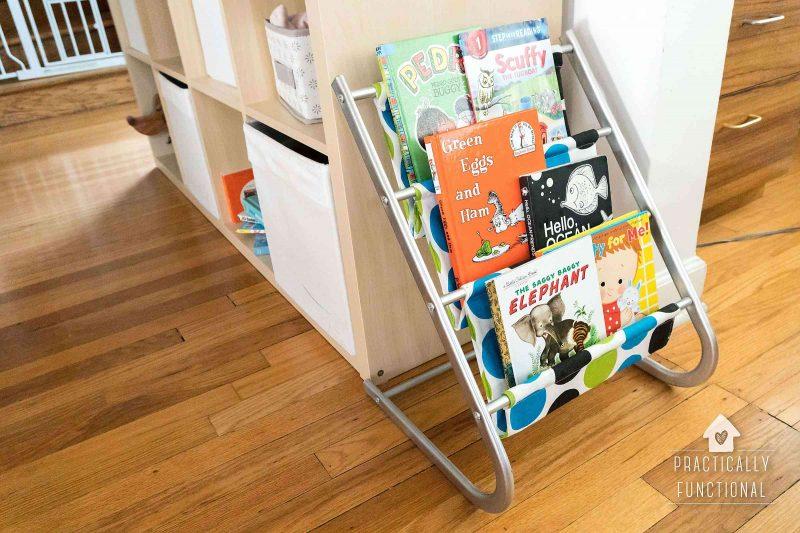 kids sling bookshelf makeover