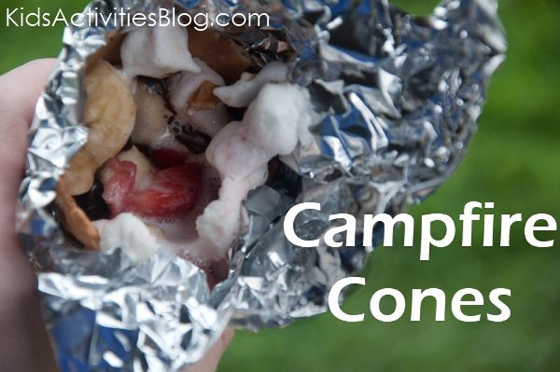 campfire food - fruit and s'more cones