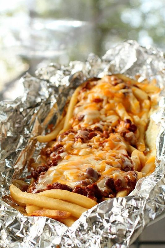 campfire foil packet chili cheese fries
