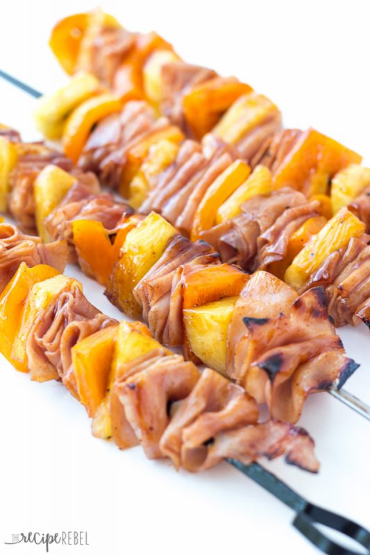 campfire hawaiian ham and pineapple skewers