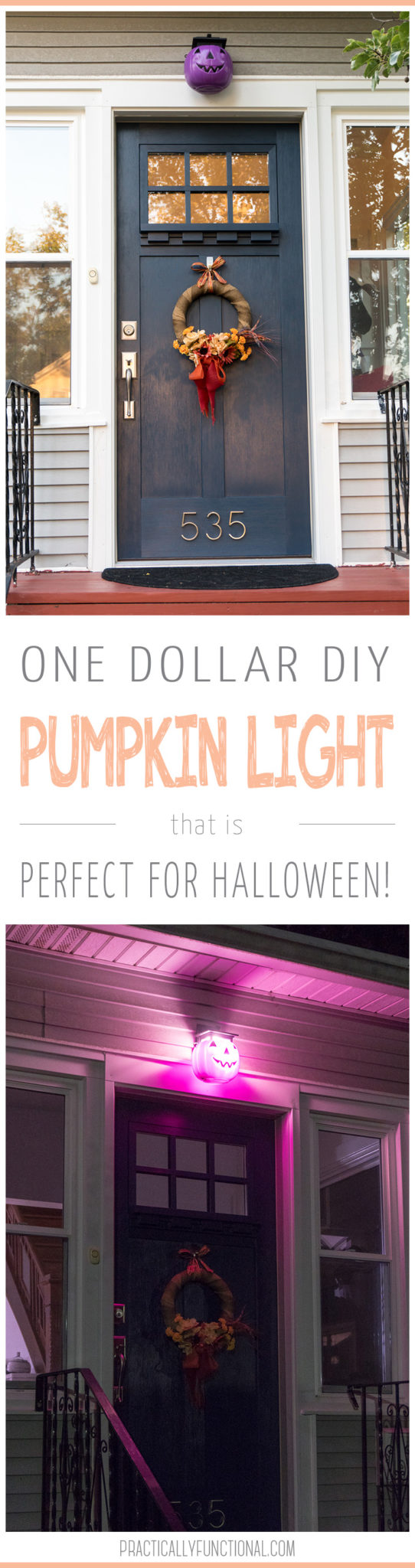 Add a fun and spooky pop of color to your front porch with this easy DIY pumpkin porch light! This simple Halloween craft is done in less than five minutes and be customized with any color pumpkin!