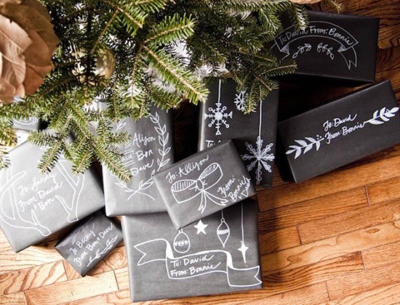 chalkboard paper gift wrap idea