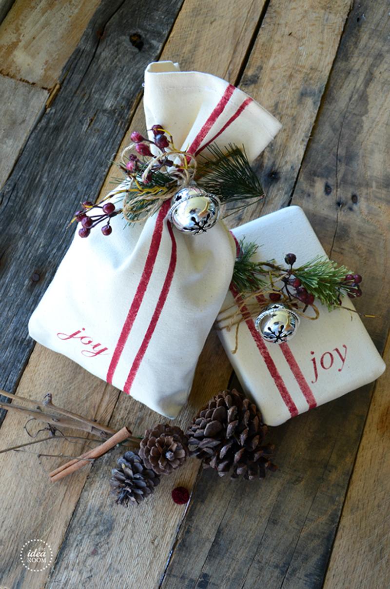 vintage grainsack gift wrap