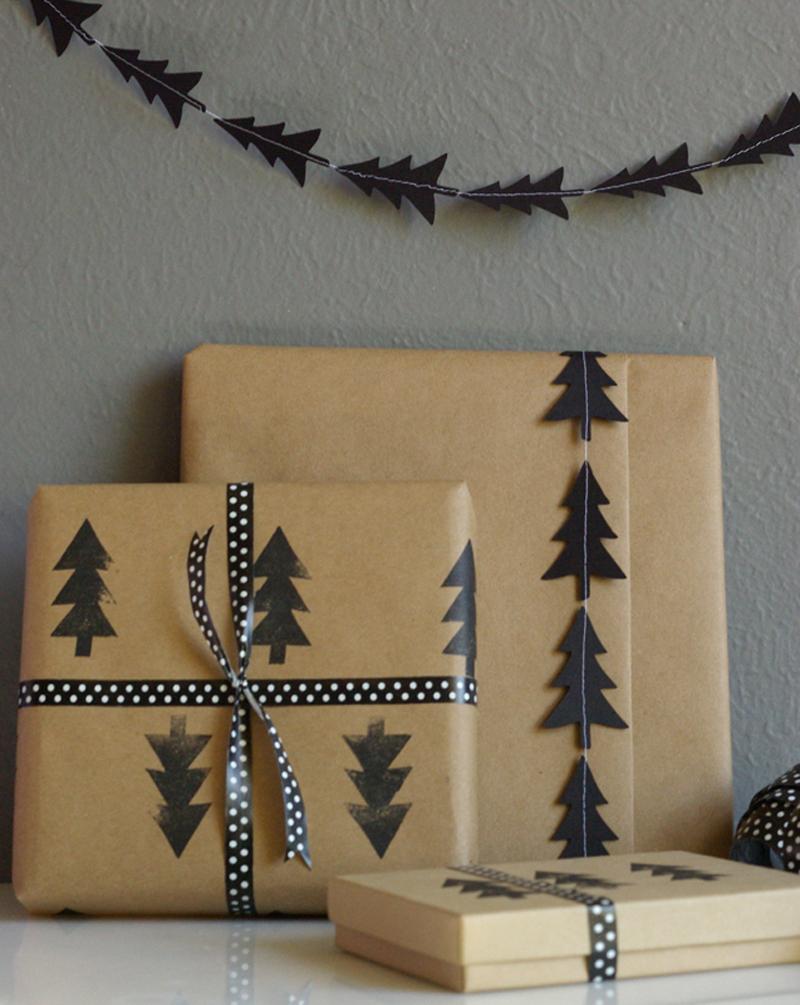 pine tree garland gift wrap