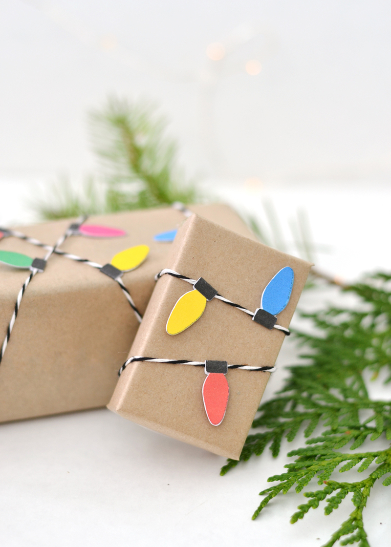 christmas light garland gift wrapping idea