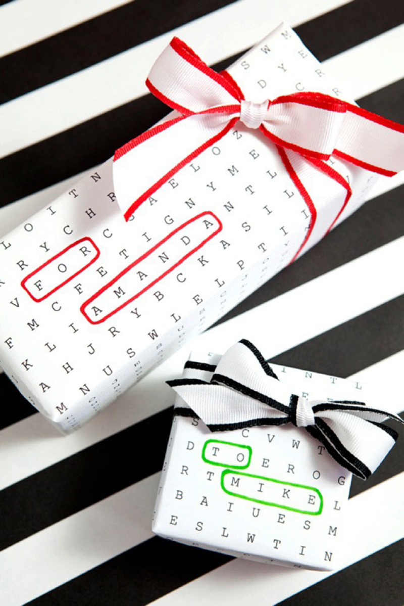 word search paper gift wrapping idea