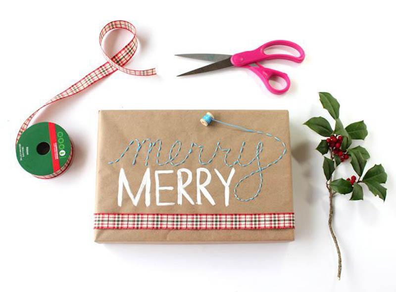 embroidery gift wrap idea