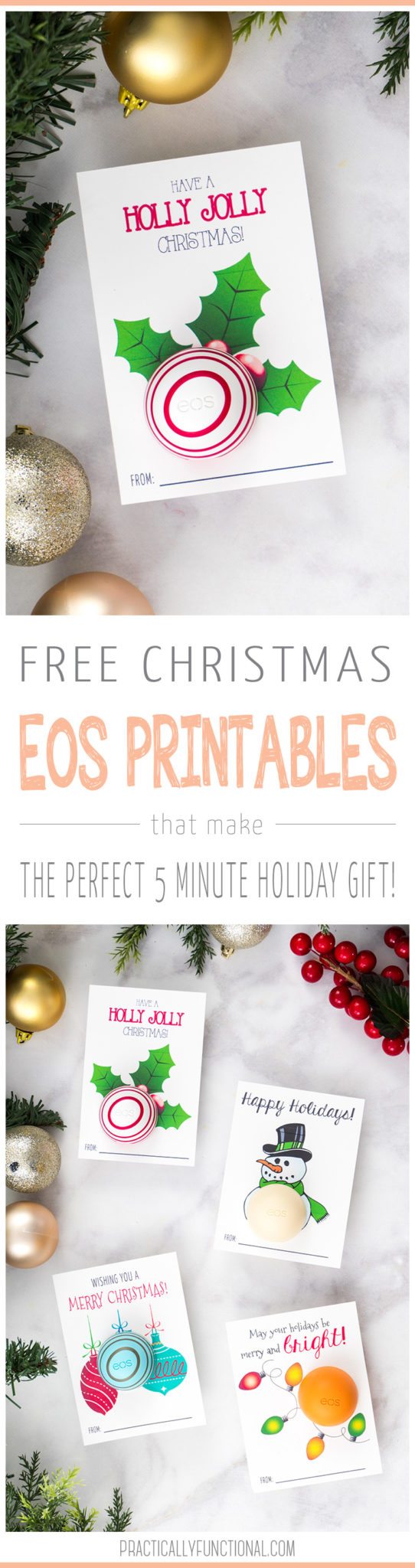 These free printable eos lip balm Christmas gifts are such a cute and easy gift idea! Whip up this simple five-minute Christmas gift for the perfect neighbor gift or easy gift for your kid's teachers.