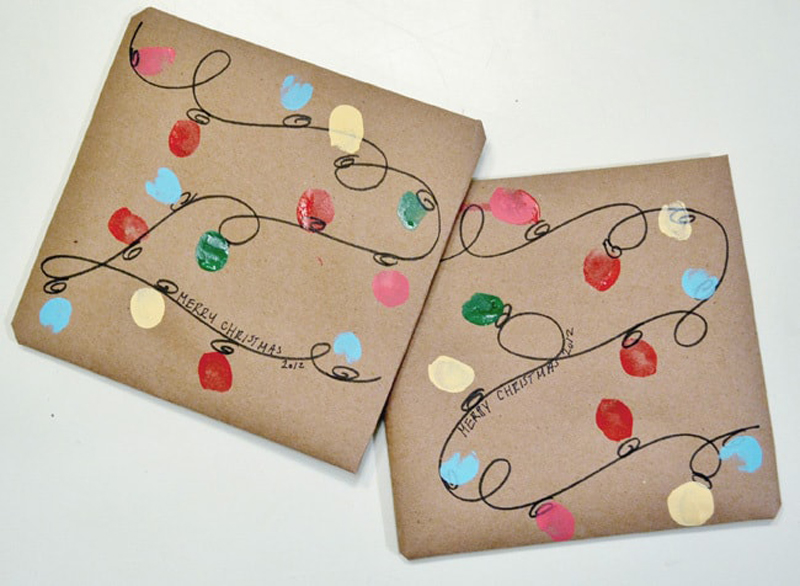 fingerprint holiday light gift wrap idea