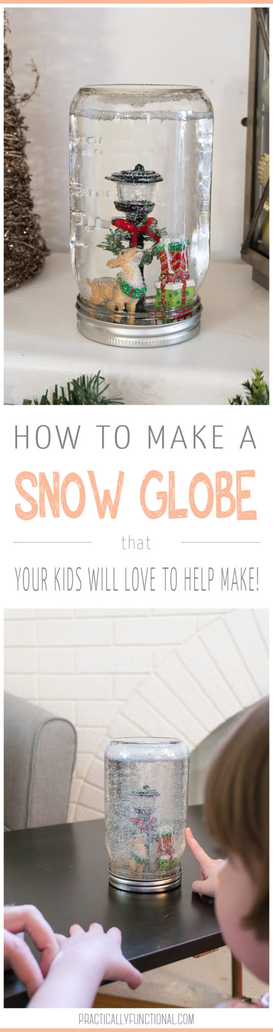 This easy Christmas craft is quick and fun! Learn how to make a snow globe in less than five minutes! This is a fun kid project for the holidays and turns out so pretty!