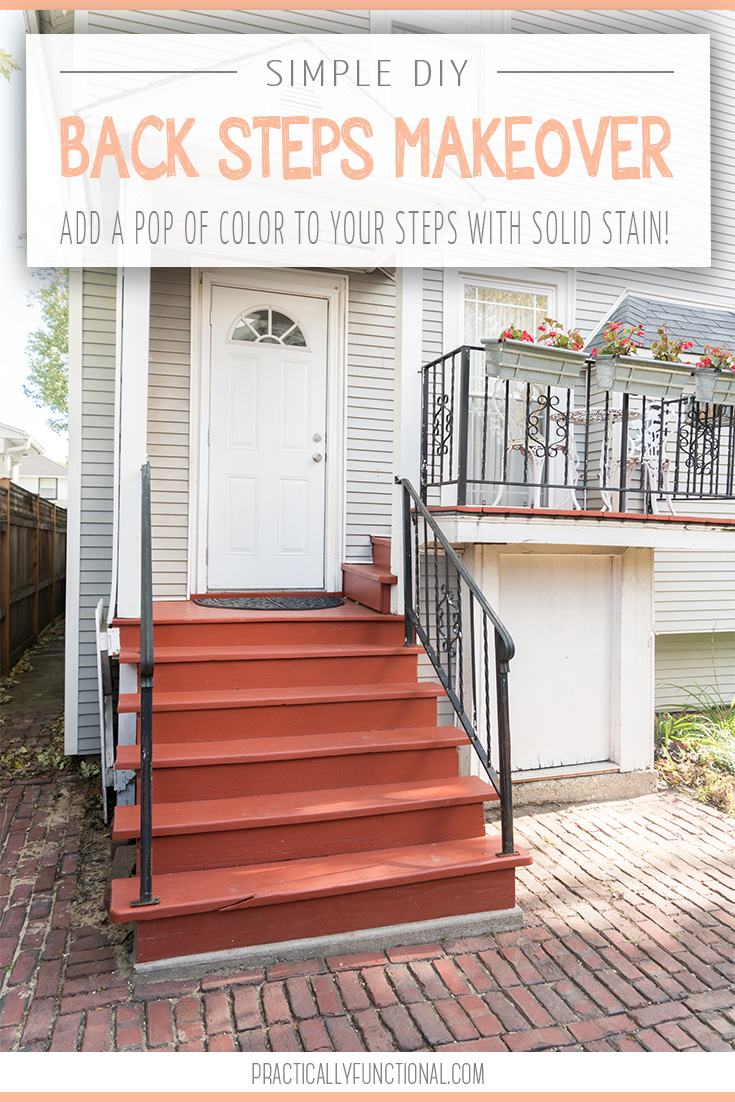 Give your worn out outdoor stairs major curb appeal with this super easy back steps mini makeover! We used a solid wood stain to add a pop of color to our back porch and we are in love!