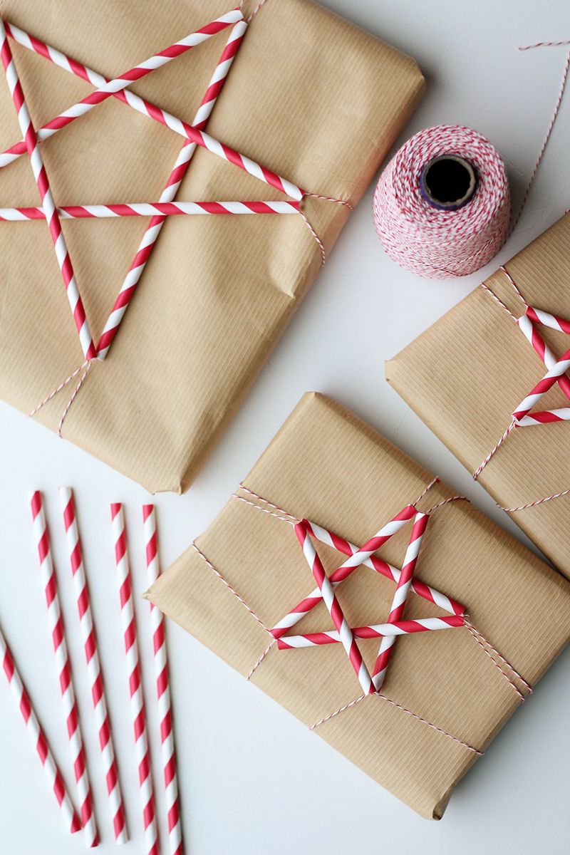 candy cane star ornament gift wrap