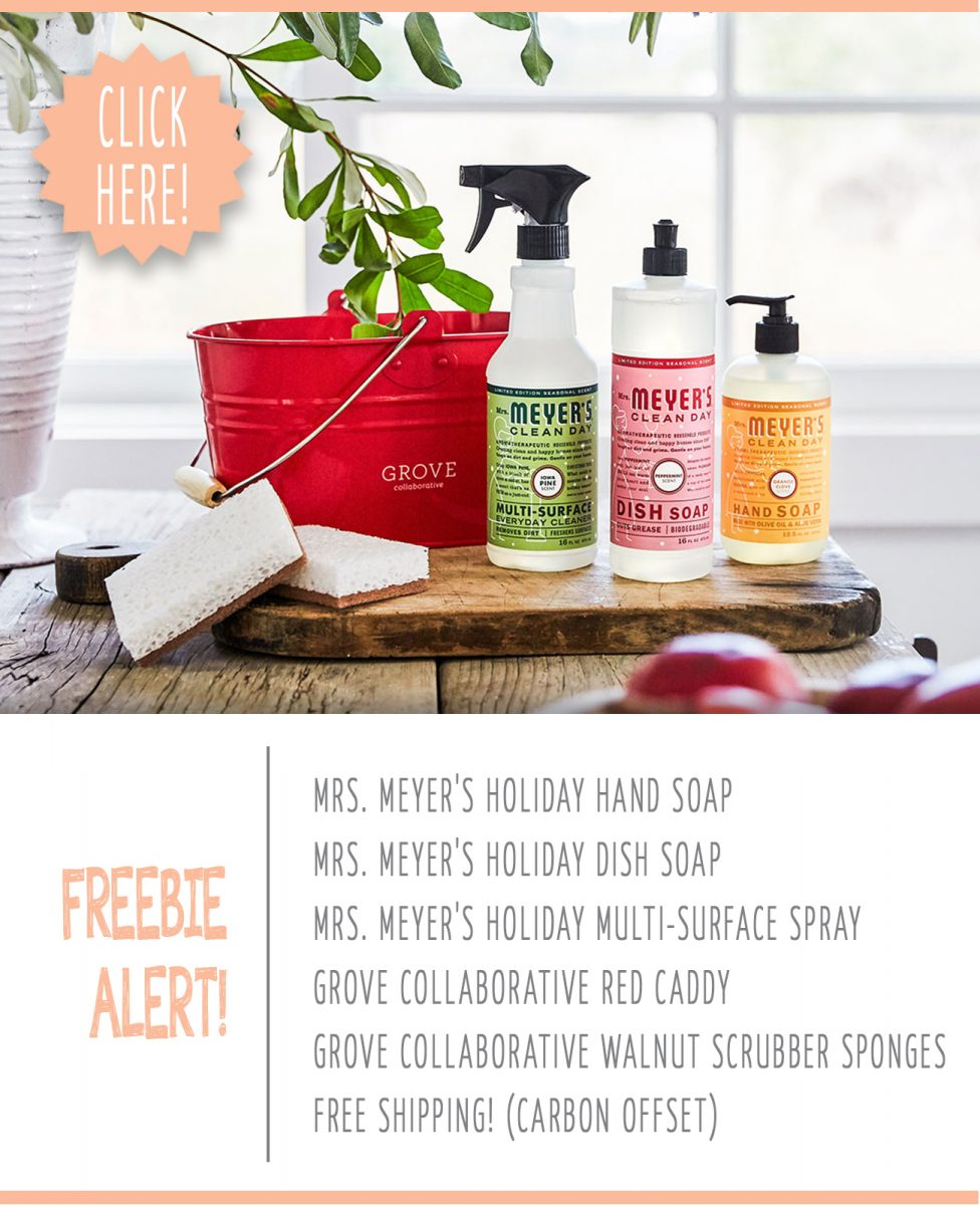 free mrs meyer 39 s orange clove peppermint pine holiday cleaning products. Black Bedroom Furniture Sets. Home Design Ideas