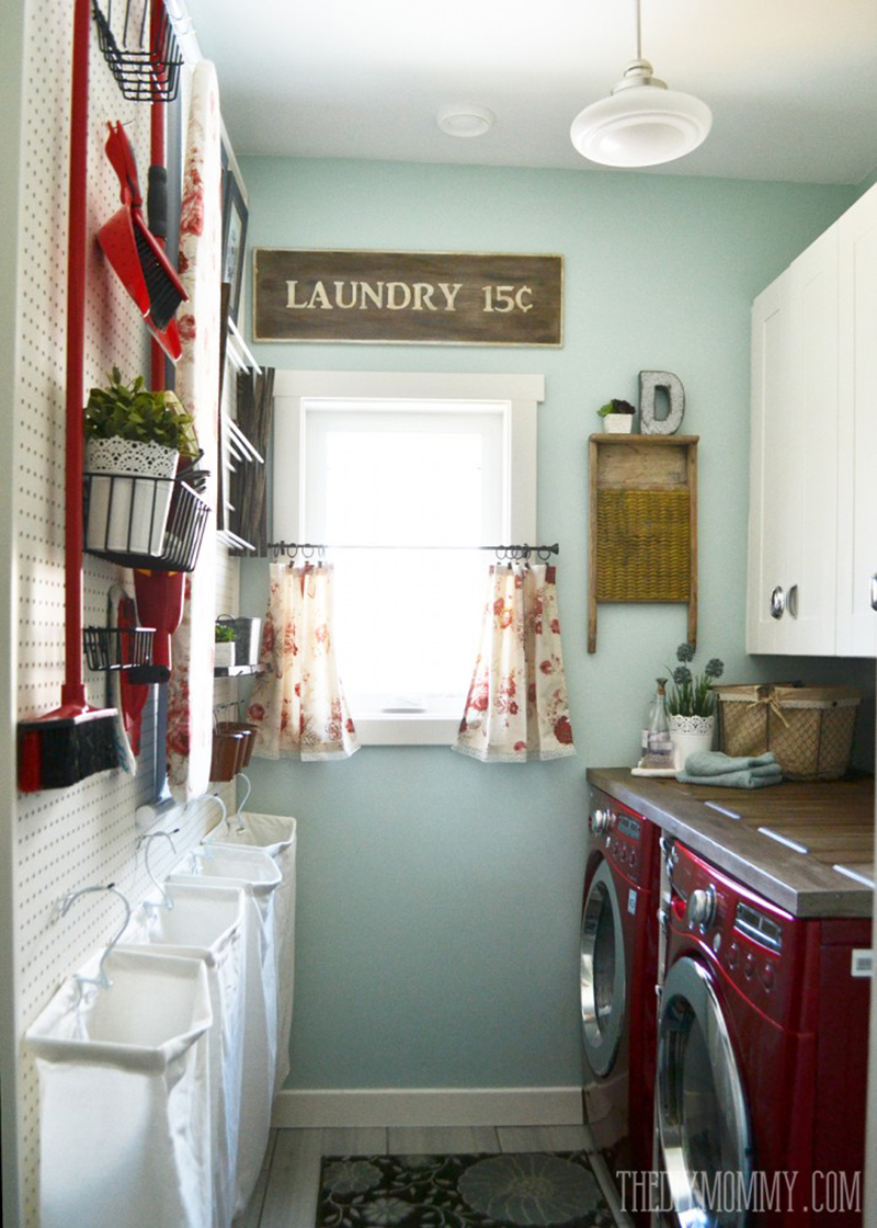 vintage inspired organized laundry room