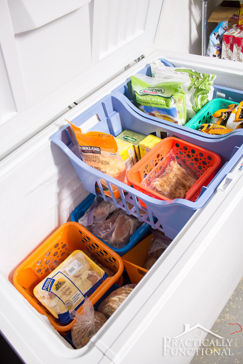organize your chest freezer with dollar store bins