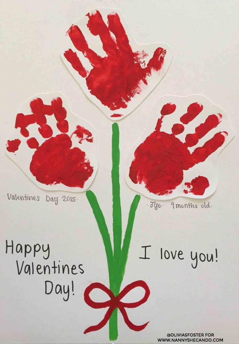 Valentine's Day handprint bouquet