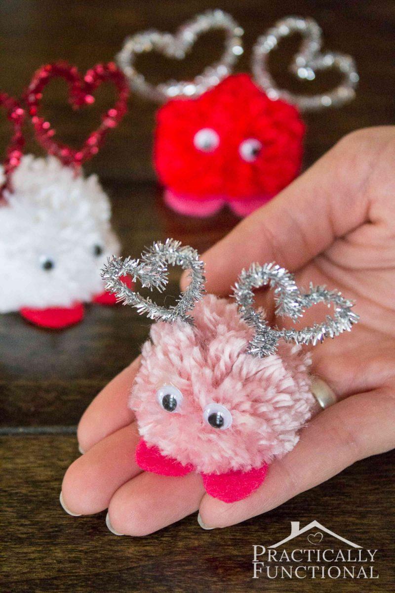 Pom pom Valentine's Day love bugs