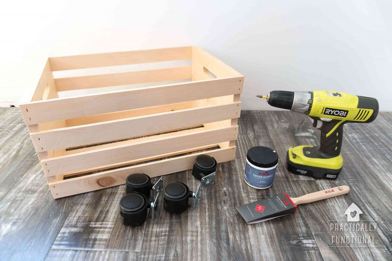 Easy DIY rolling crate for toy and book storage