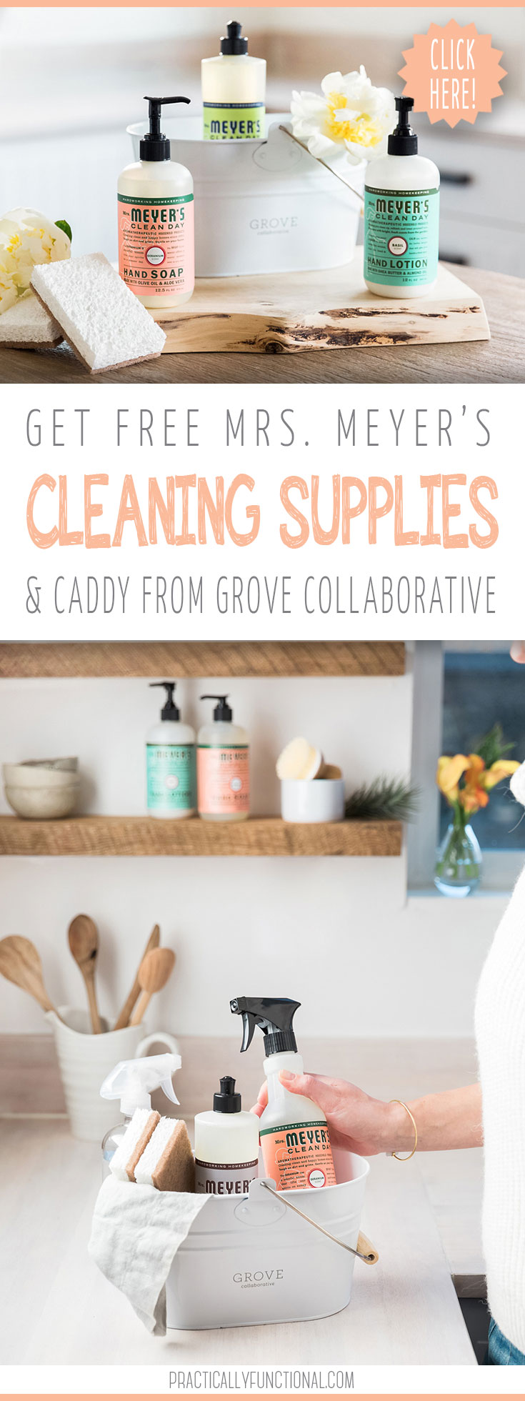 Free Mrs. Meyer's cleaning products and caddy from Grover Collaborative