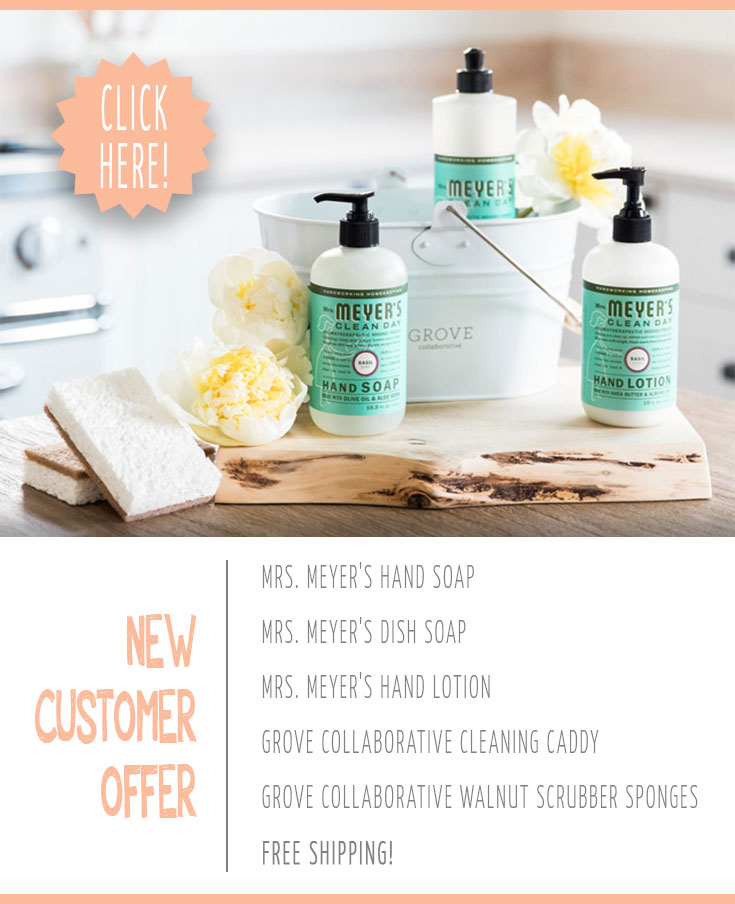 Free Mrs. Meyer's cleaning products and cleaning caddy
