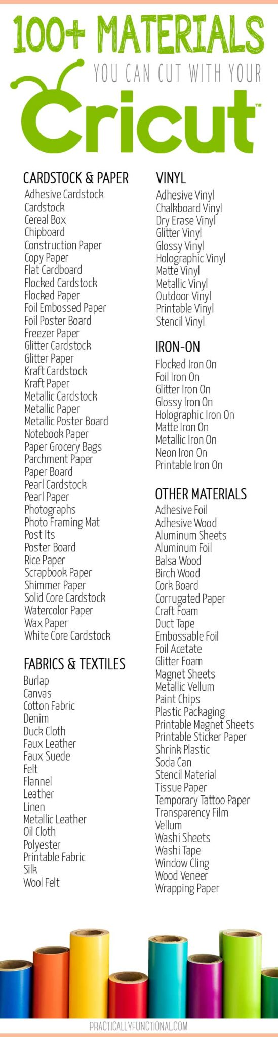 Ultimate list of 100+ materials you can cut with a Cricut machine