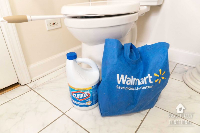Use bleach to disinfect a toilet for spring cleaning