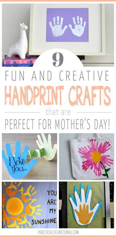 "data-pin-description=""Looking for easy and cute Mother's Day Gifts that you can make with your little one? Check out these fun and creative handprint art ideas that make the perfect sweet gift for mom this year! #mothersday #mothersdaycraft"""