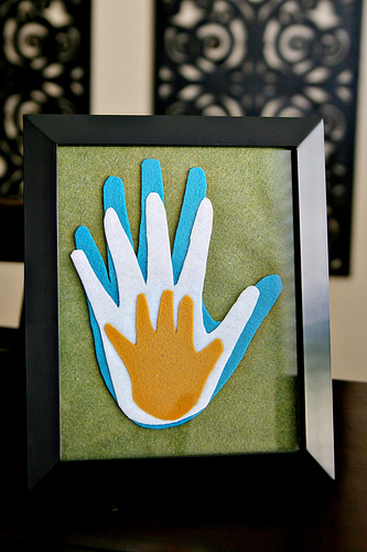 Family handprints made out of felt