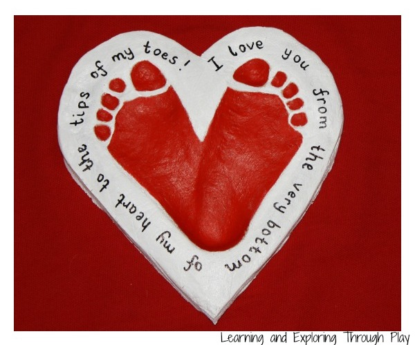 Footprint art for Valentine's Day or Mother's Day