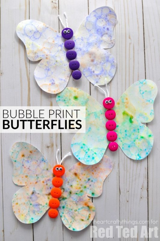 Bubble printing butterfly craft and 23 other fun summer activities for toddlers
