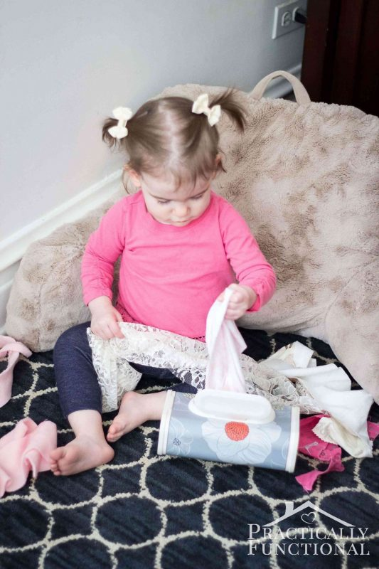 Fabric scraps in a wipes container and 23 other fun summer activities for toddlers