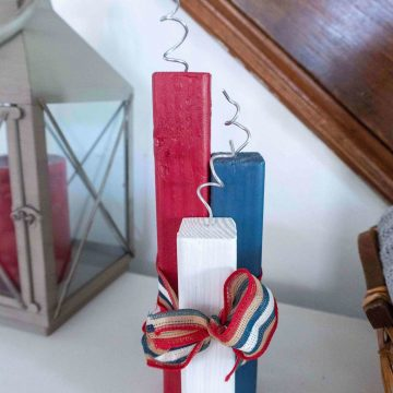 Red white and blue diy wooden firecrackers for the 4th of july