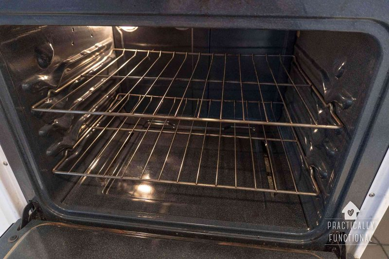 The best way to clean the inside of an oven is with ammonia