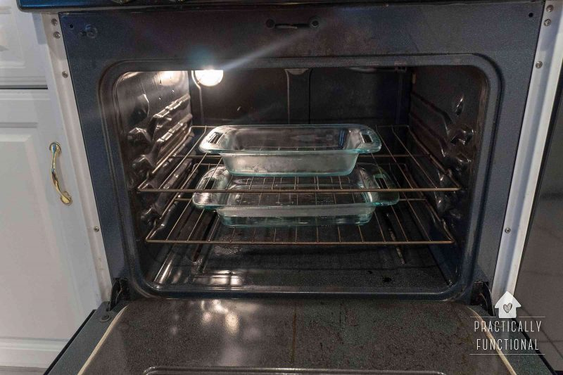 Using ammonia and water to clean the inside of an oven