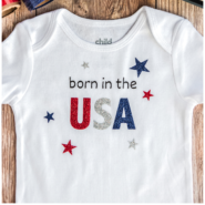 born in the usa baby onesie with cricut easypress, and rolls of heat transfer vinyl