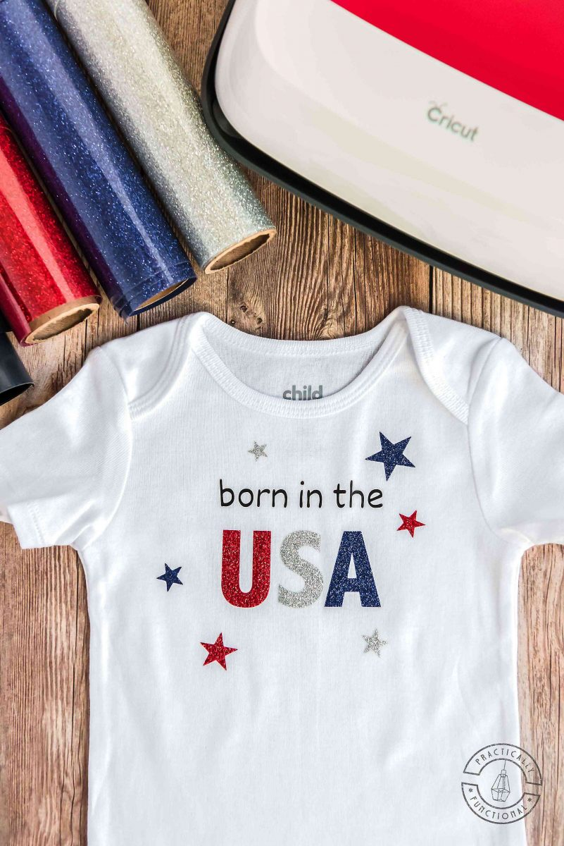 born in the usa baby onesie with cricut easypress and red, white, and blue glitter heat transfer vinyl