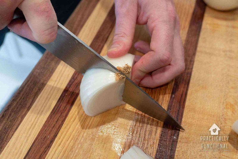 Cut onions into wedges through the root to keep them together while grilling