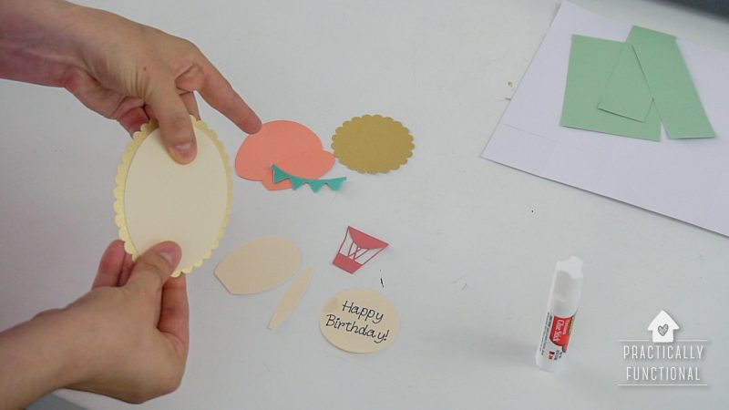 Cut out pieces to make pop up box card with cricut
