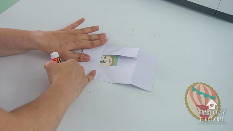 Fold and glue the base to make a pop up box card