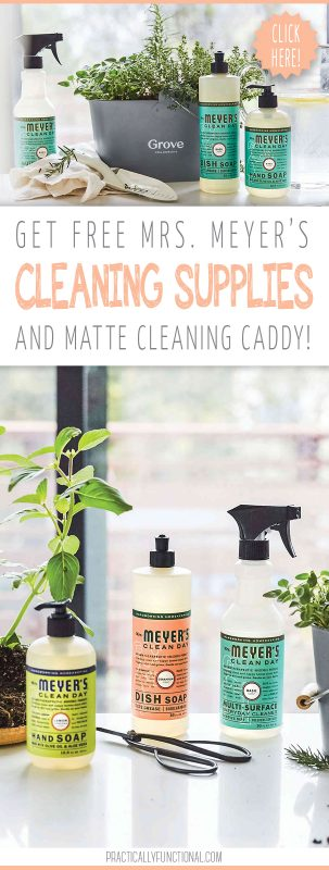 Free mrs. meyers cleaning products and caddy from grove collaborative pin