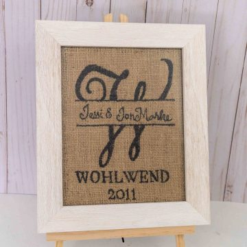 Simple DIY Burlap Monogram Sign