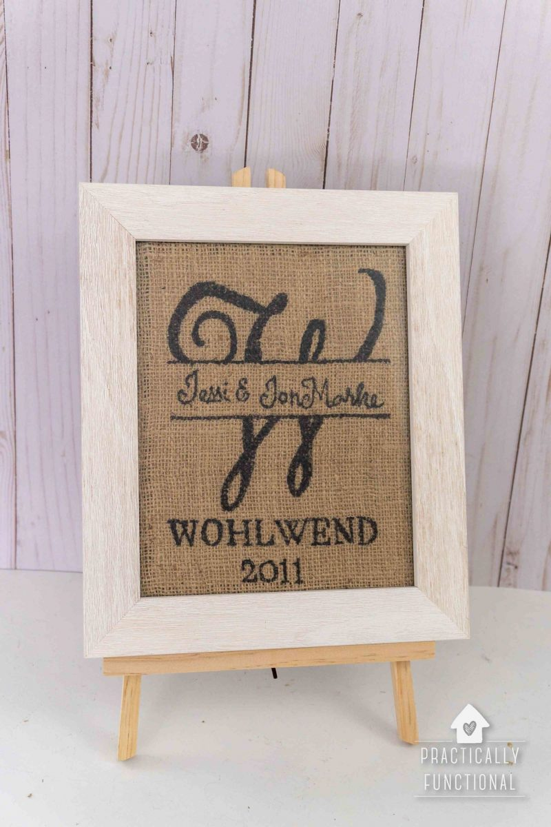 Hand drawn burlap monogram sign